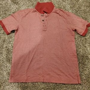 Orvis Red Herringbone Pima Cotton Polo Shirt L
